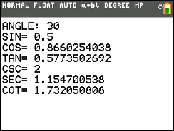 6 Trig Functions TI-84 Program - Math Class Calculator