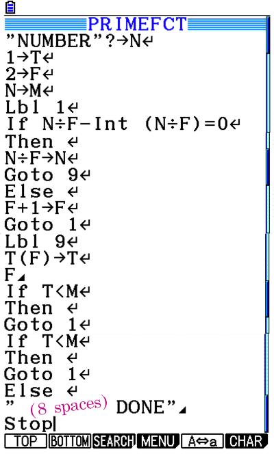 Prime Factorization Program For Casio FX Calculator - Math Class Calculator